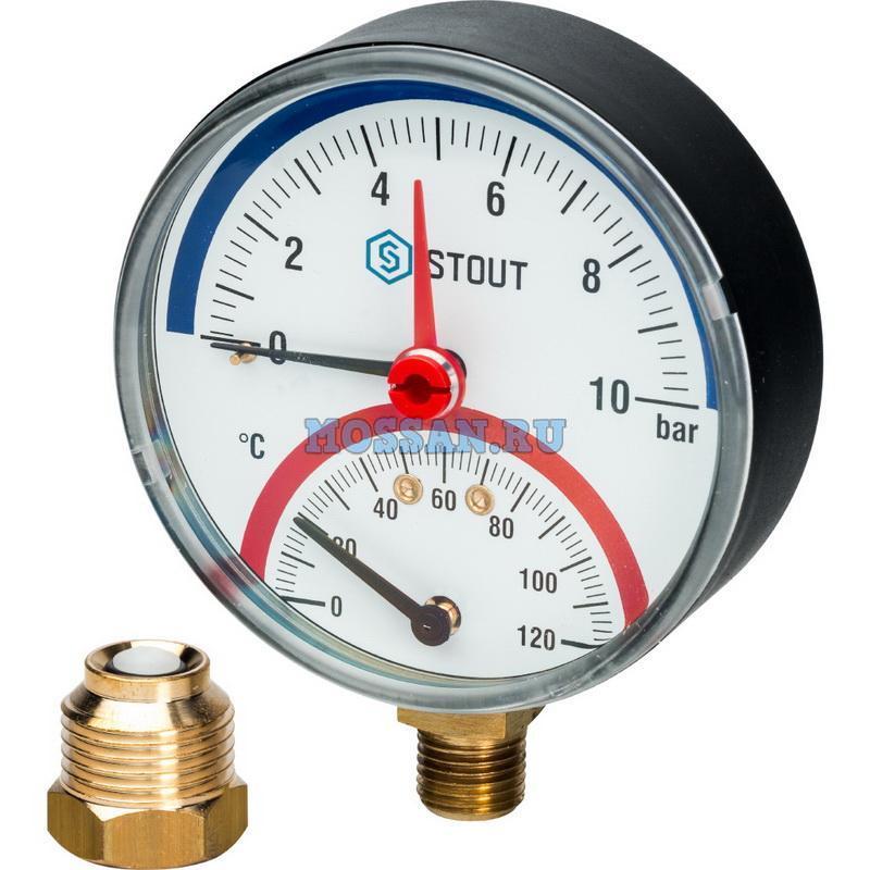 """STOUT  Термоманометр радиальный в комплекте с автоматическим запорным клапаном. Корпус Dn 80 мм 1/2"""", 0...120°C, 0-10 бар. Термоманометры"""